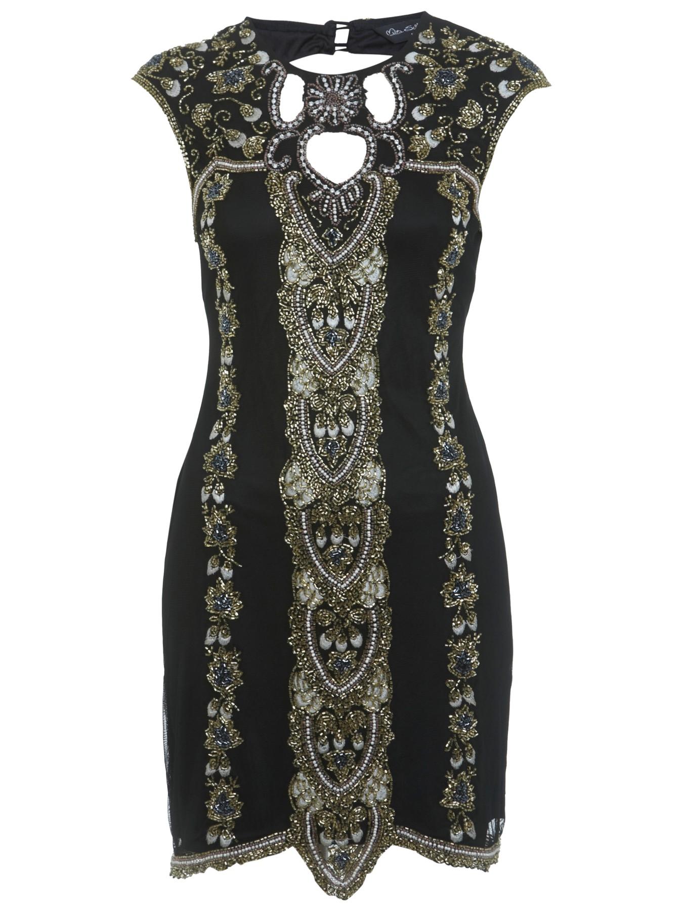 Miss selfridge black gold dress