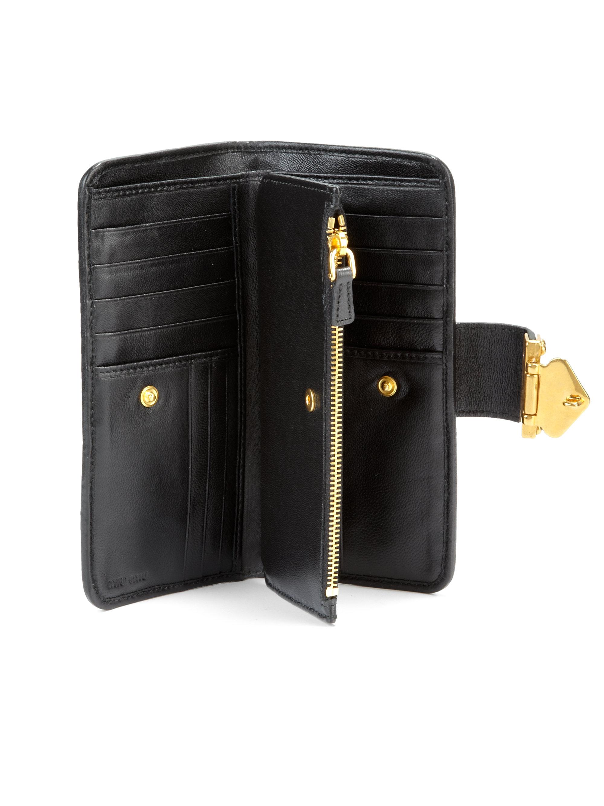f0b0172560c Lyst Miu Matele Continental Wallet In Black. Miu Madras Leather Continental  Wallet