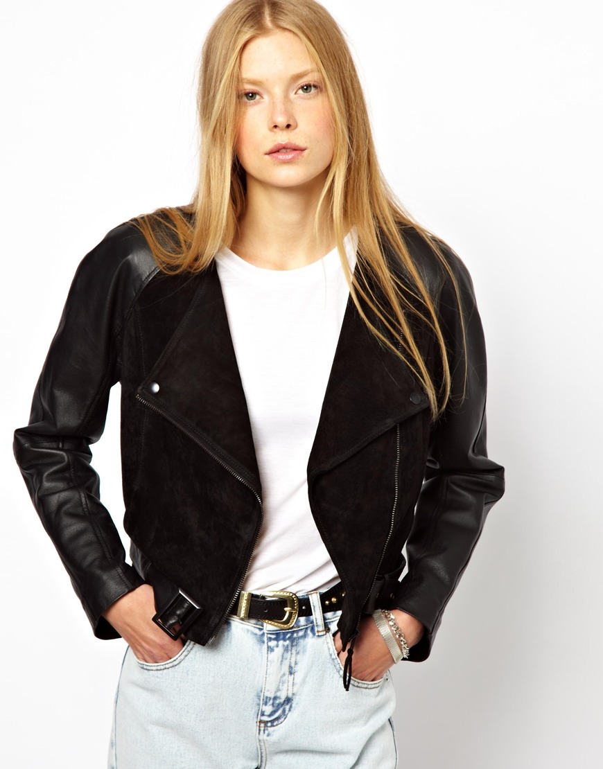 Monki Cropped Leather Suede Biker Jacket in Black | Lyst