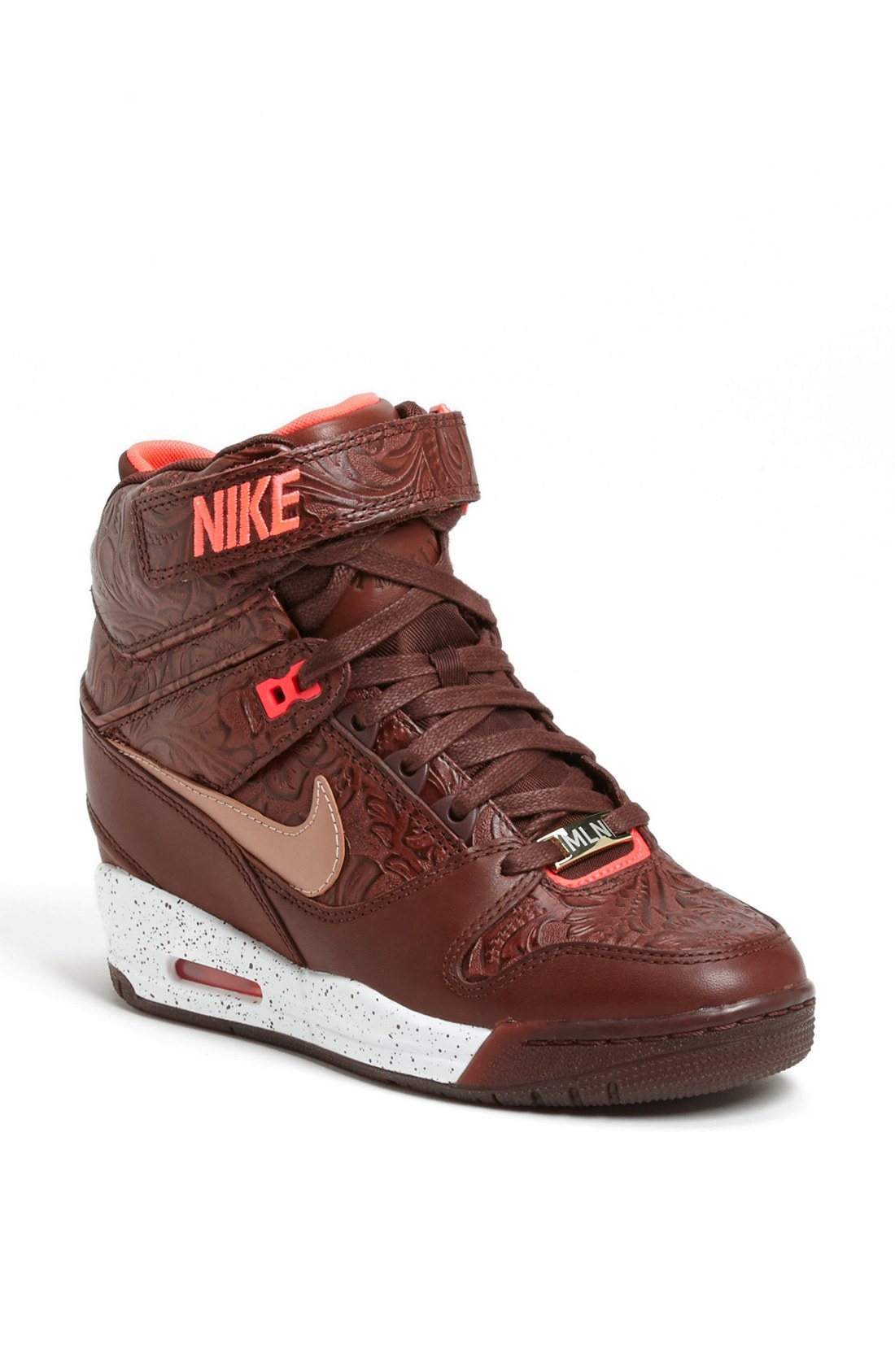nike air revolution sky hi hidden wedge sneaker in brown brown metallic milano lyst. Black Bedroom Furniture Sets. Home Design Ideas