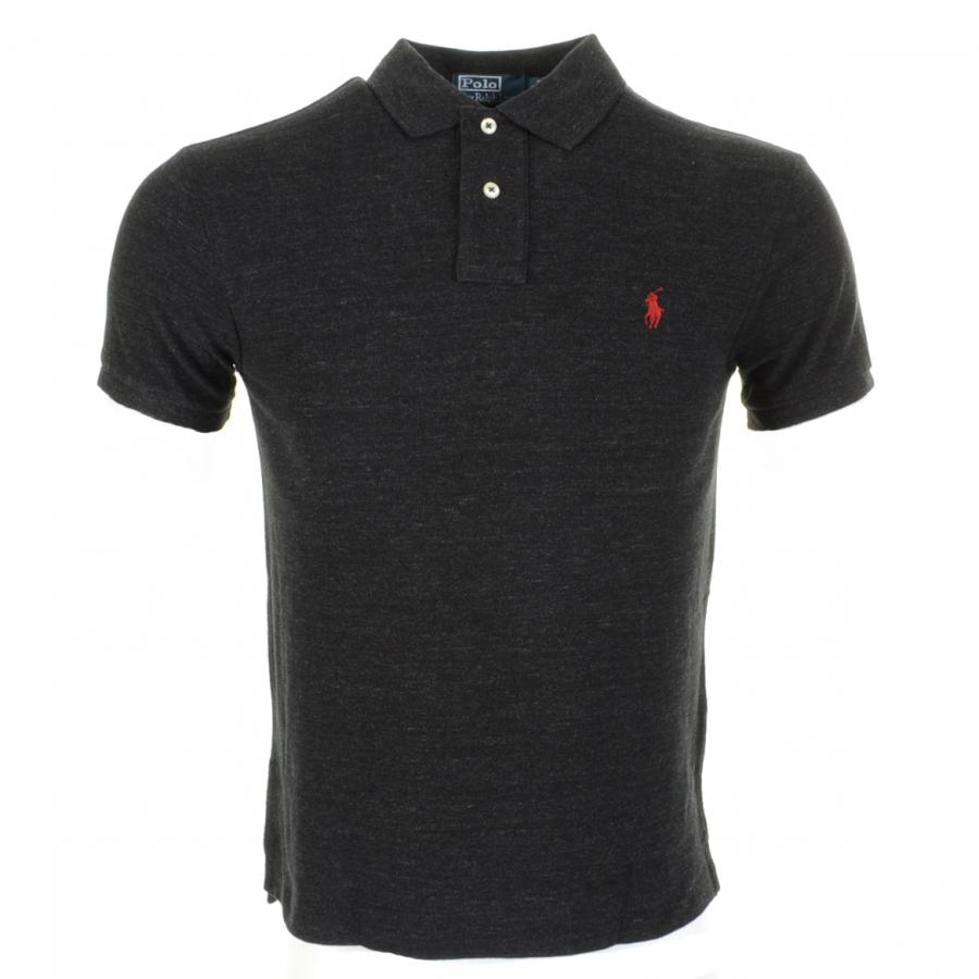 Ralph lauren slim fit polo t shirt in black for men lyst for Black fitted polo shirt