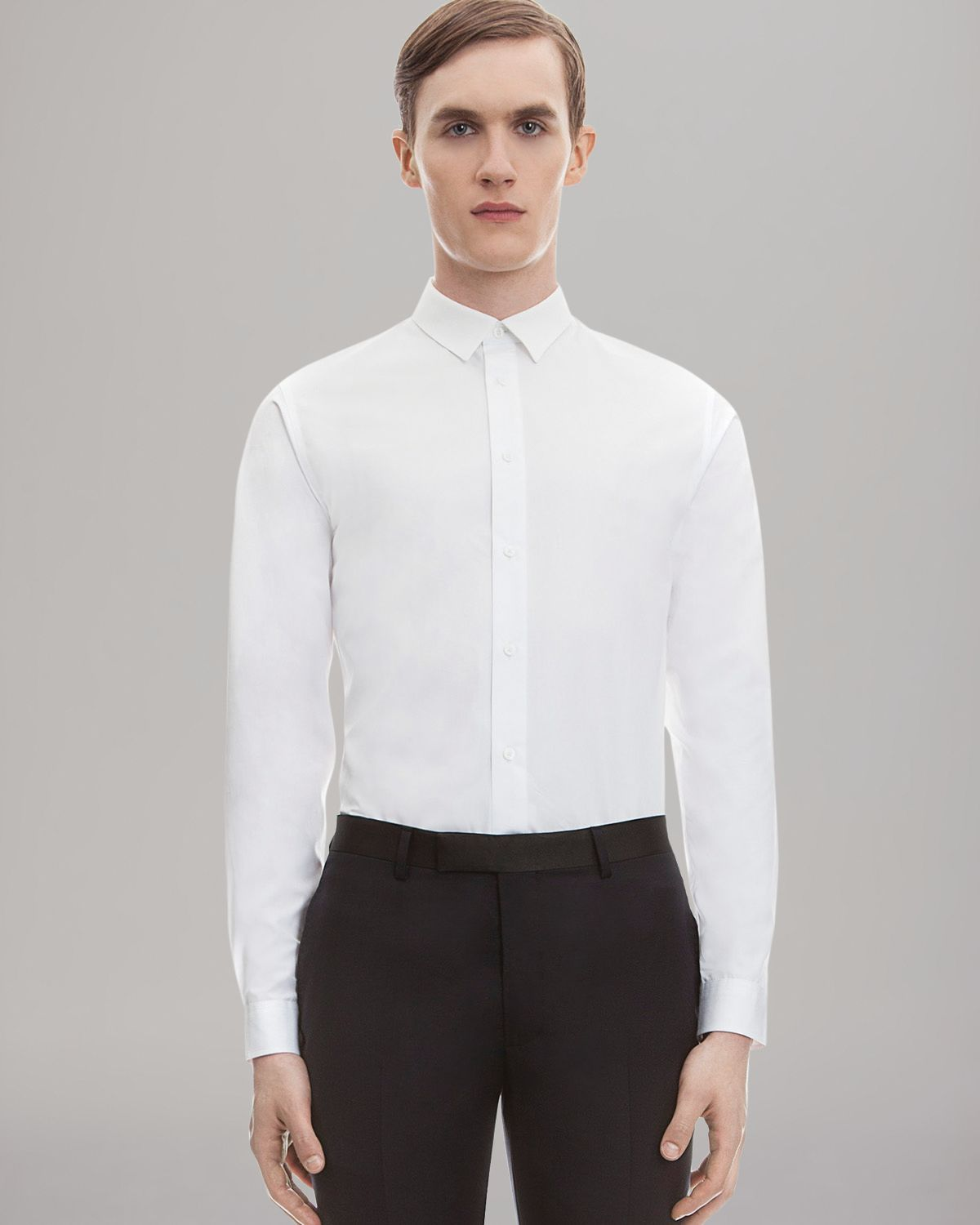 sandro solid dress shirt slim fit in white for men lyst