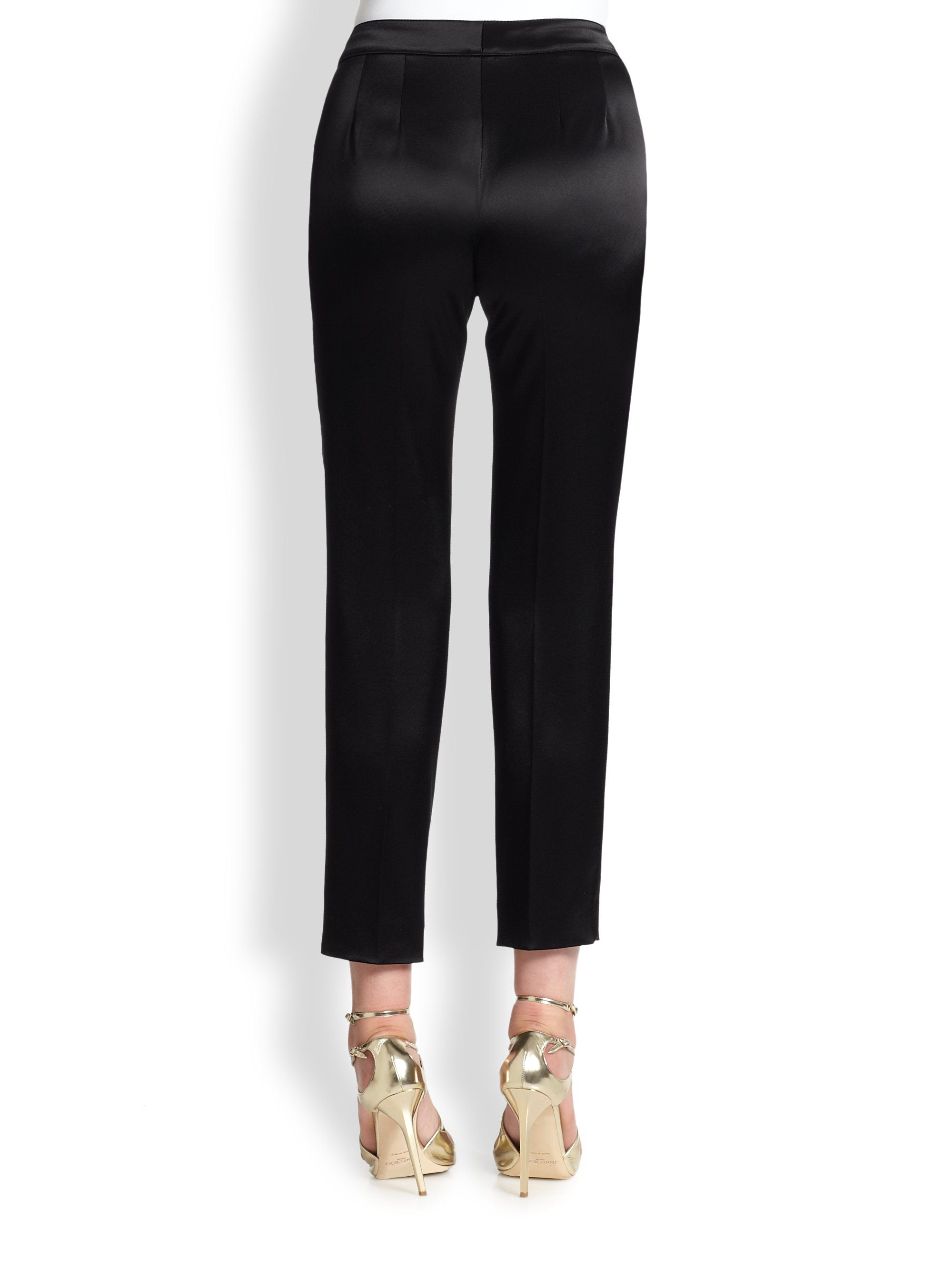 Lyst St John Emma Liquid Satin Pants In Black