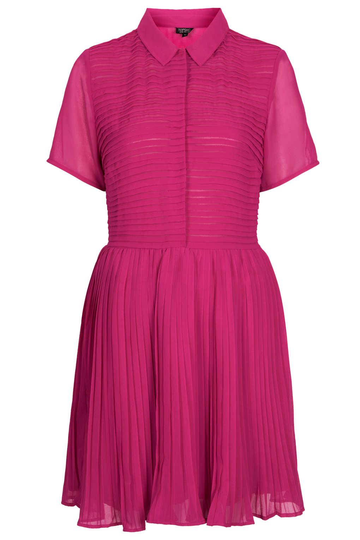 pink chiffon pleated dress