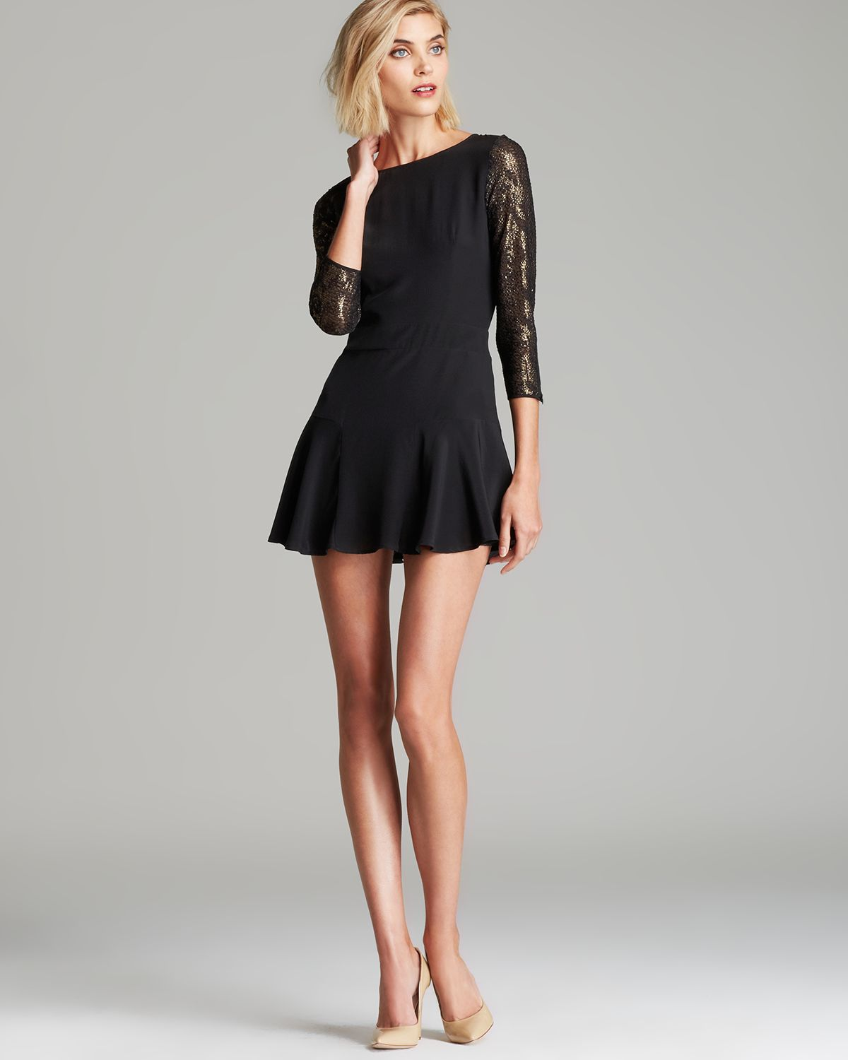 Black dress lace sleeves - Twelfth Street Cynthia Vincent Dress Flounce Lace Sleeve In Black Twelfth Street Cynthia Vincent Dress Flounce Lace Sleeve In Black