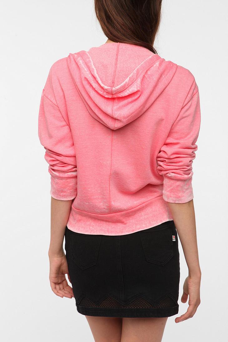 Urban outfitters Bdg Burnout Zipup Hoodie Sweatshirt in Pink | Lyst