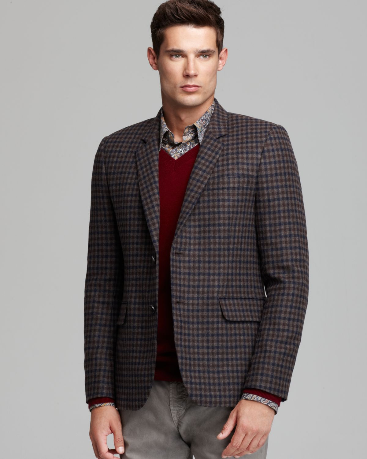 Lyst - Vince Soft Wool Check Blazer In Brown For Men