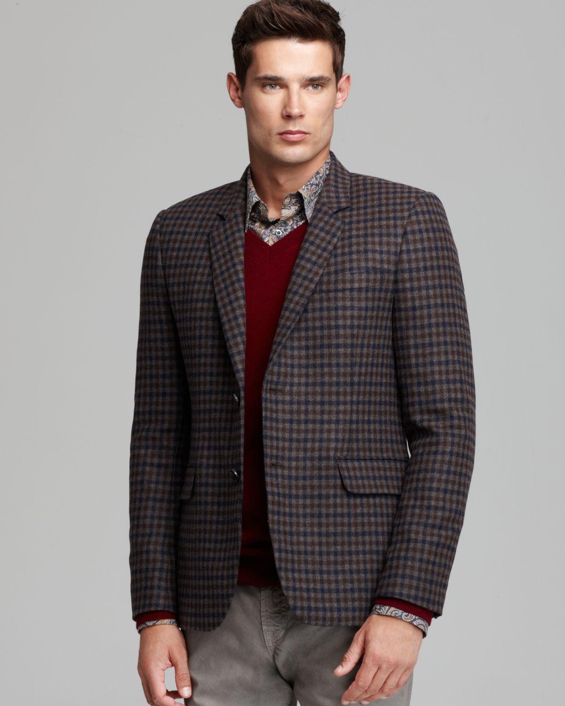 Vince Soft Wool Check Blazer In Brown For Men Shitake Lyst