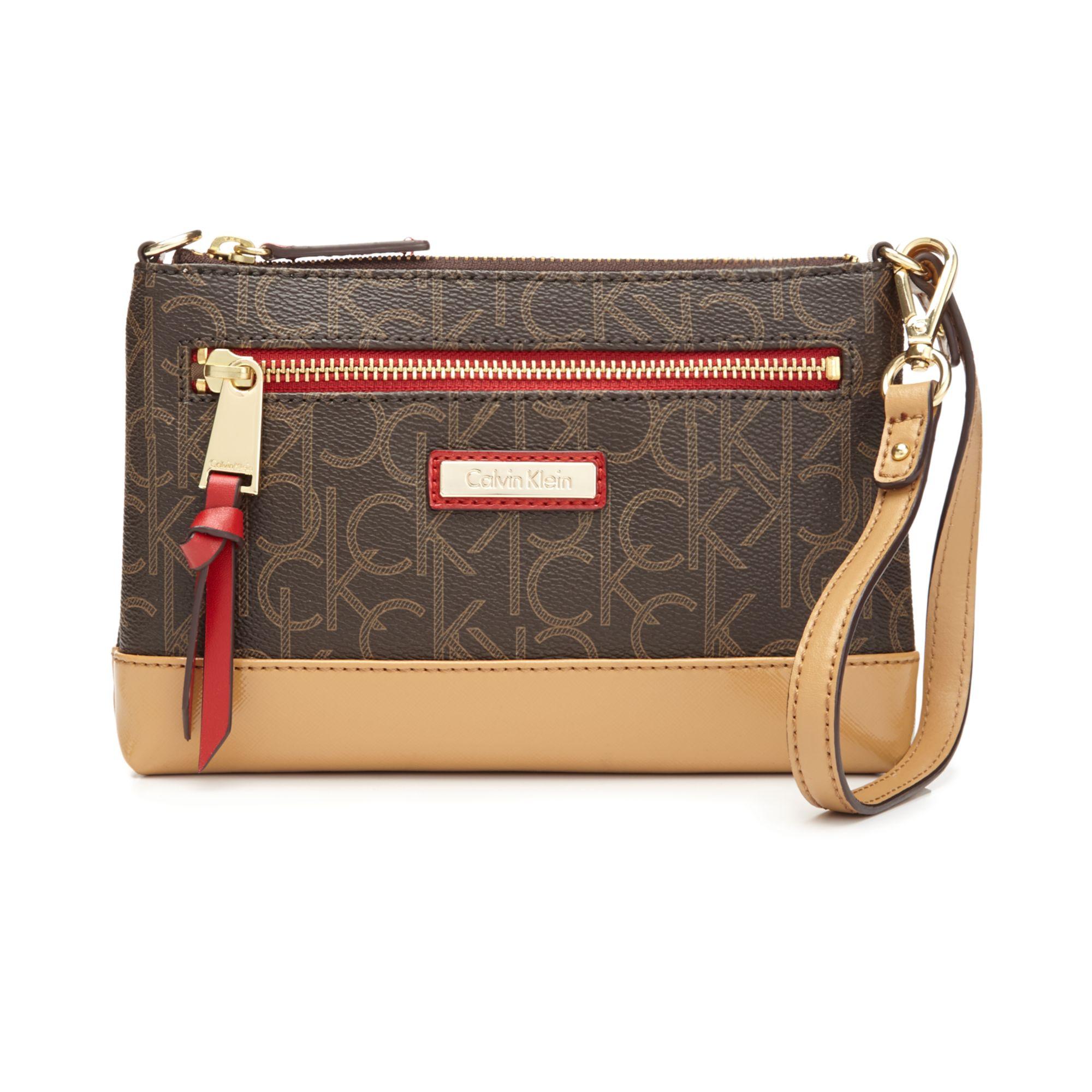 Calvin Klein Saffiano Wristlet / Clutch FAUX Leather Top