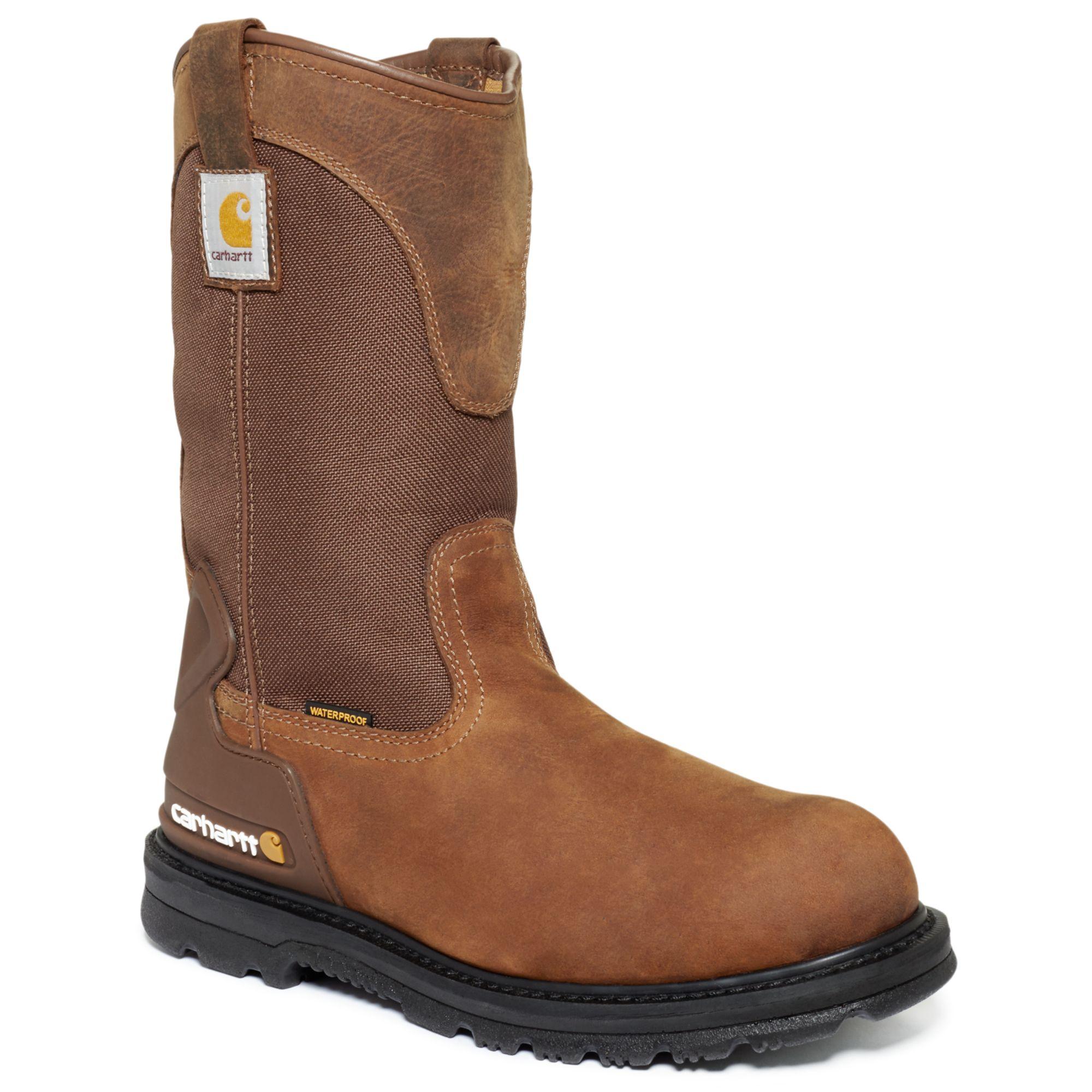 carhartt 11 inch bison waterproof work boots in brown for