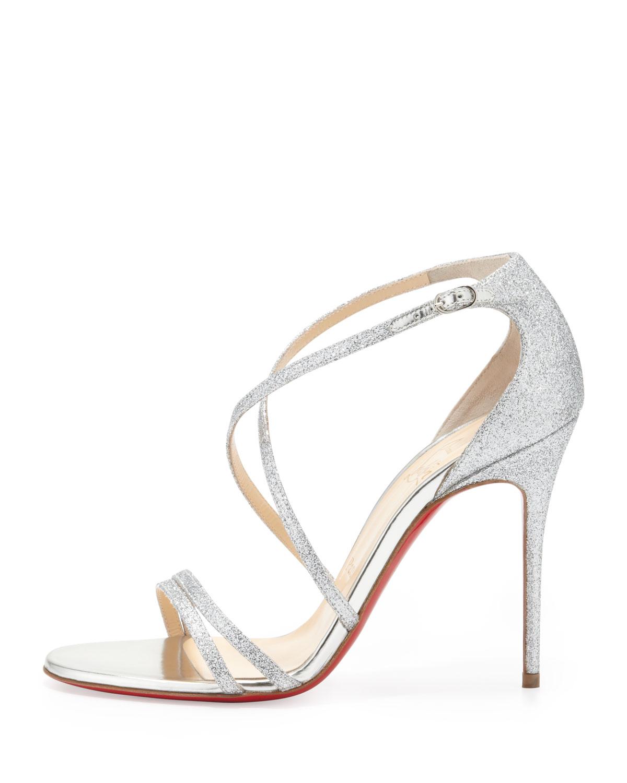 Christian louboutin Gwynitta Glitter Opentoed Sandal Silver in ...