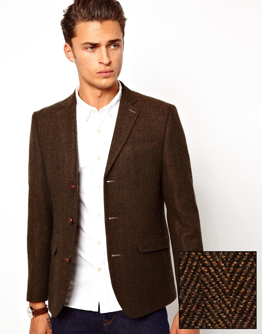 French connection Slim Fit Blazer in Herringbone in Brown for Men ...