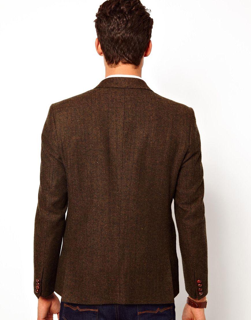 asos slim fit blazer in herringbone in natural for men lyst. Black Bedroom Furniture Sets. Home Design Ideas