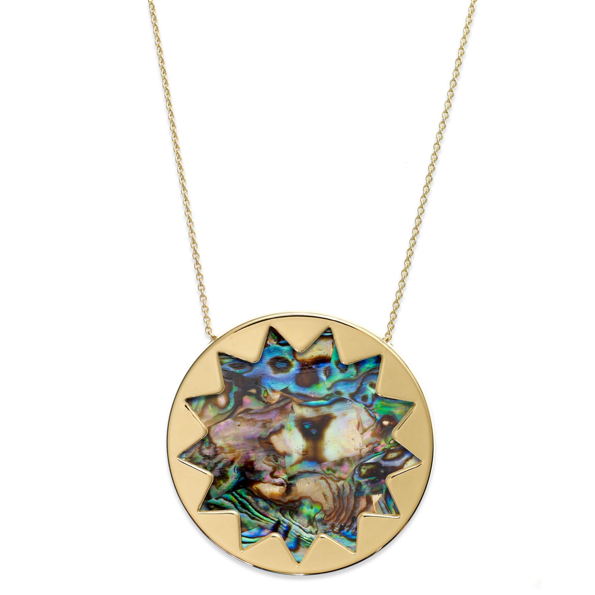 house of harlow gold tone abalone stone sunburst pendant