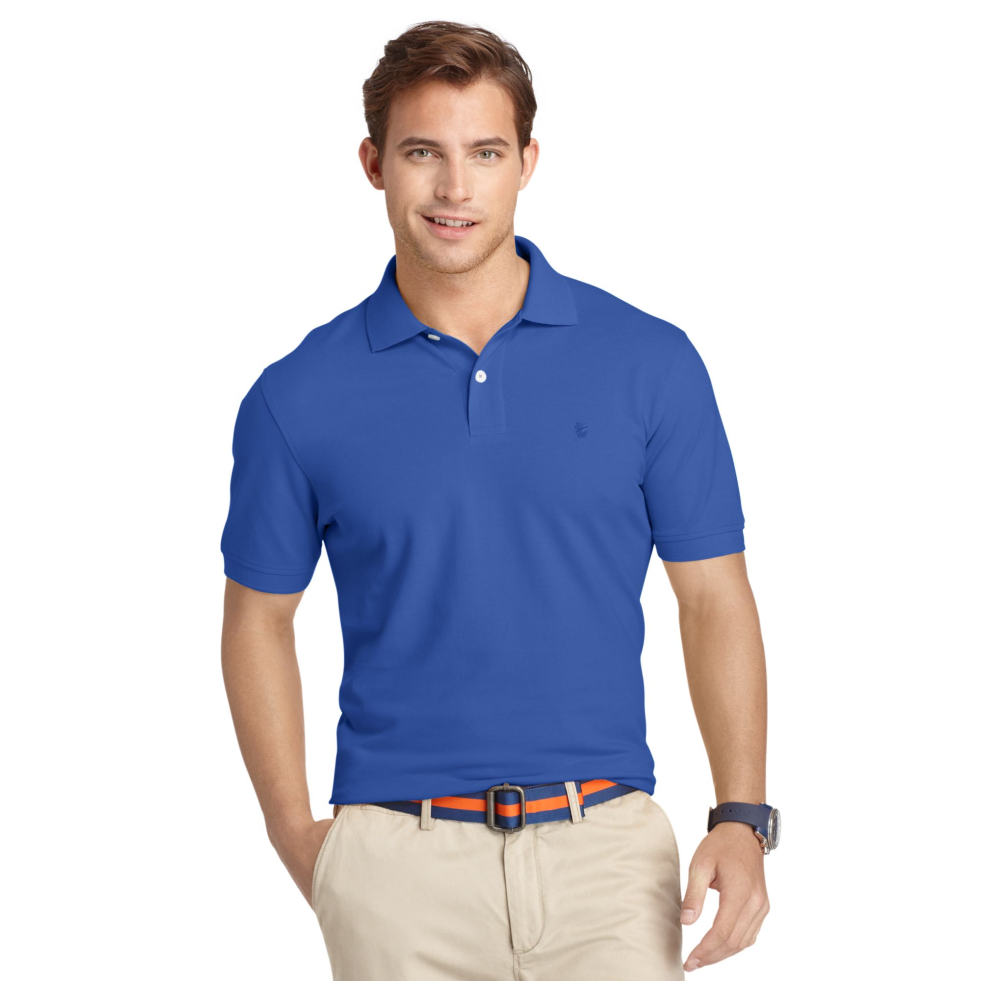 Lyst Izod Big And Tall Shirt Oxford Pique Polo Shirt In Blue For Men