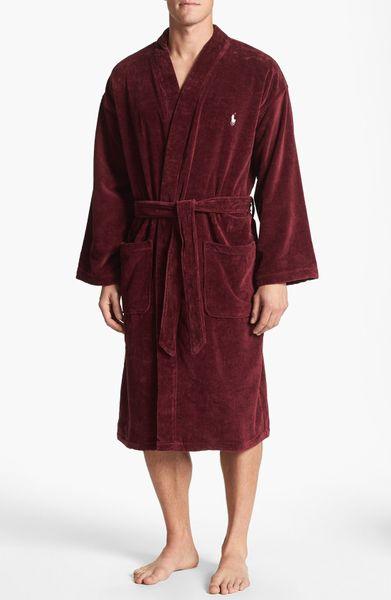 Polo Ralph Lauren Velour Kimono Robe in Red for Men - Lyst