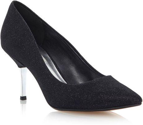 Reiss Black Patent Kitten Heel Shoes