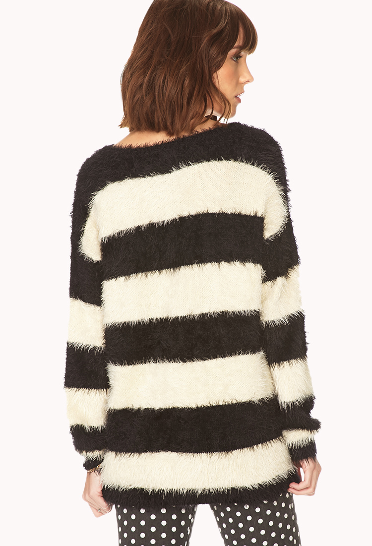 Forever 21 Fuzzy Striped Sweater In Black Lyst