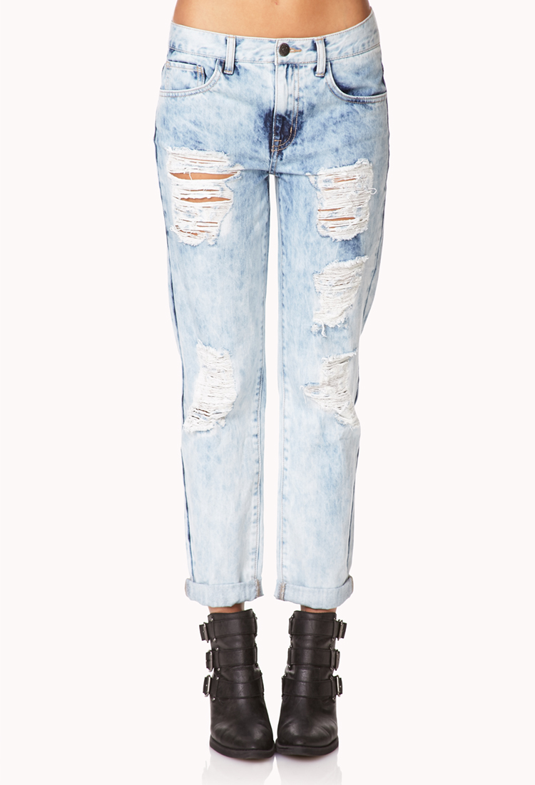Forever 21 Rebel Bleached Boyfriend Jeans In Blue Light