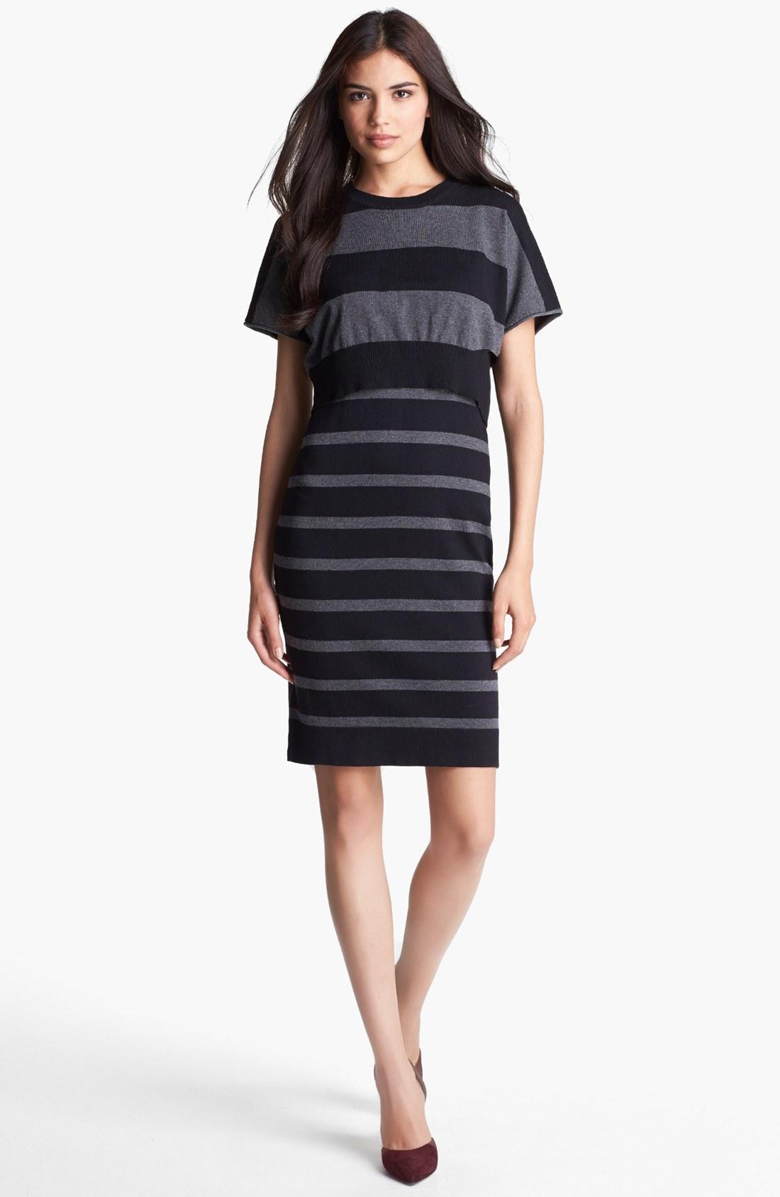 Laundry By Shelli Segal Crop Overlay Stripe Sweater Dress ...