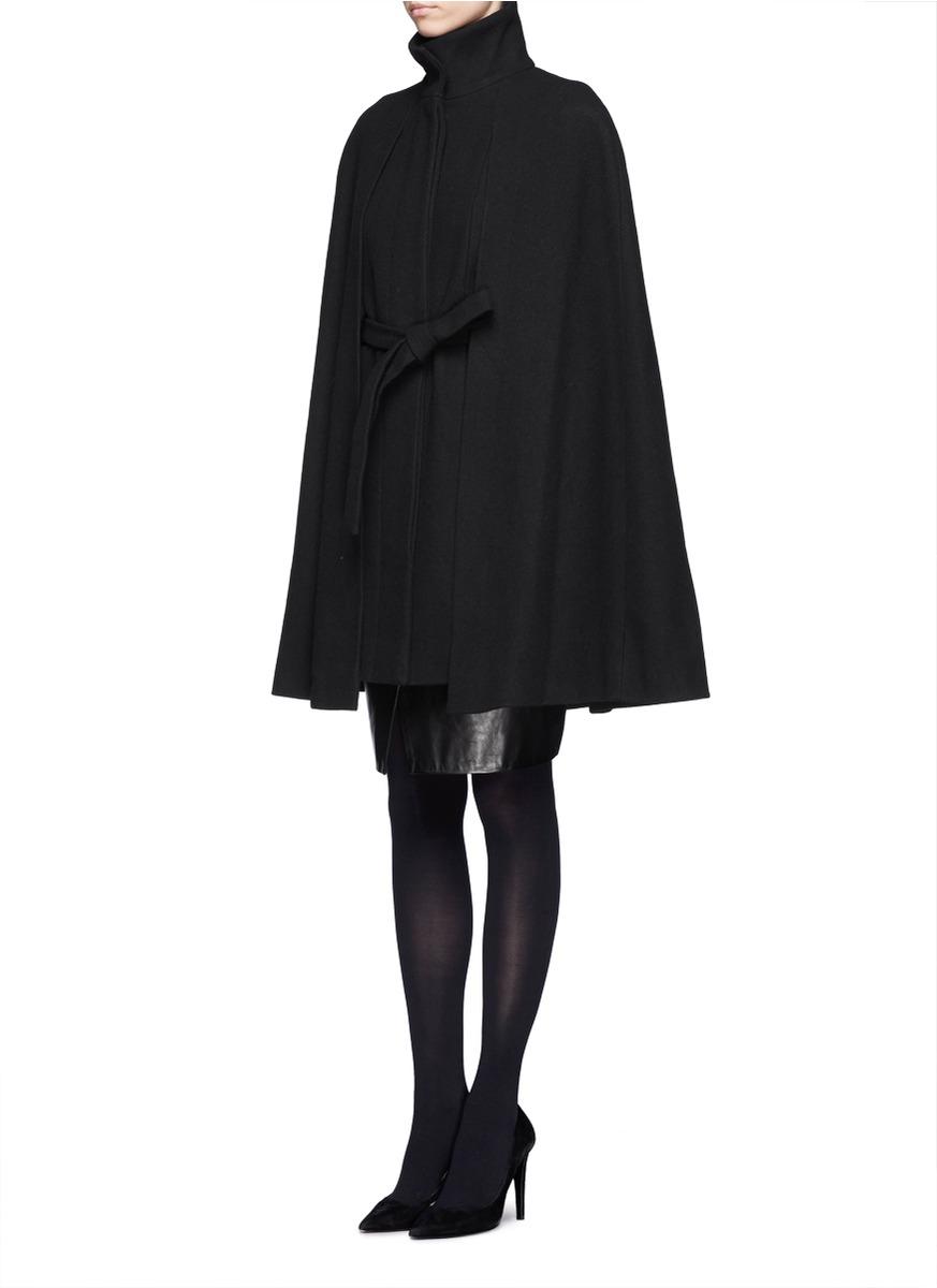 Maje Wool-blend Cape Coat in Black
