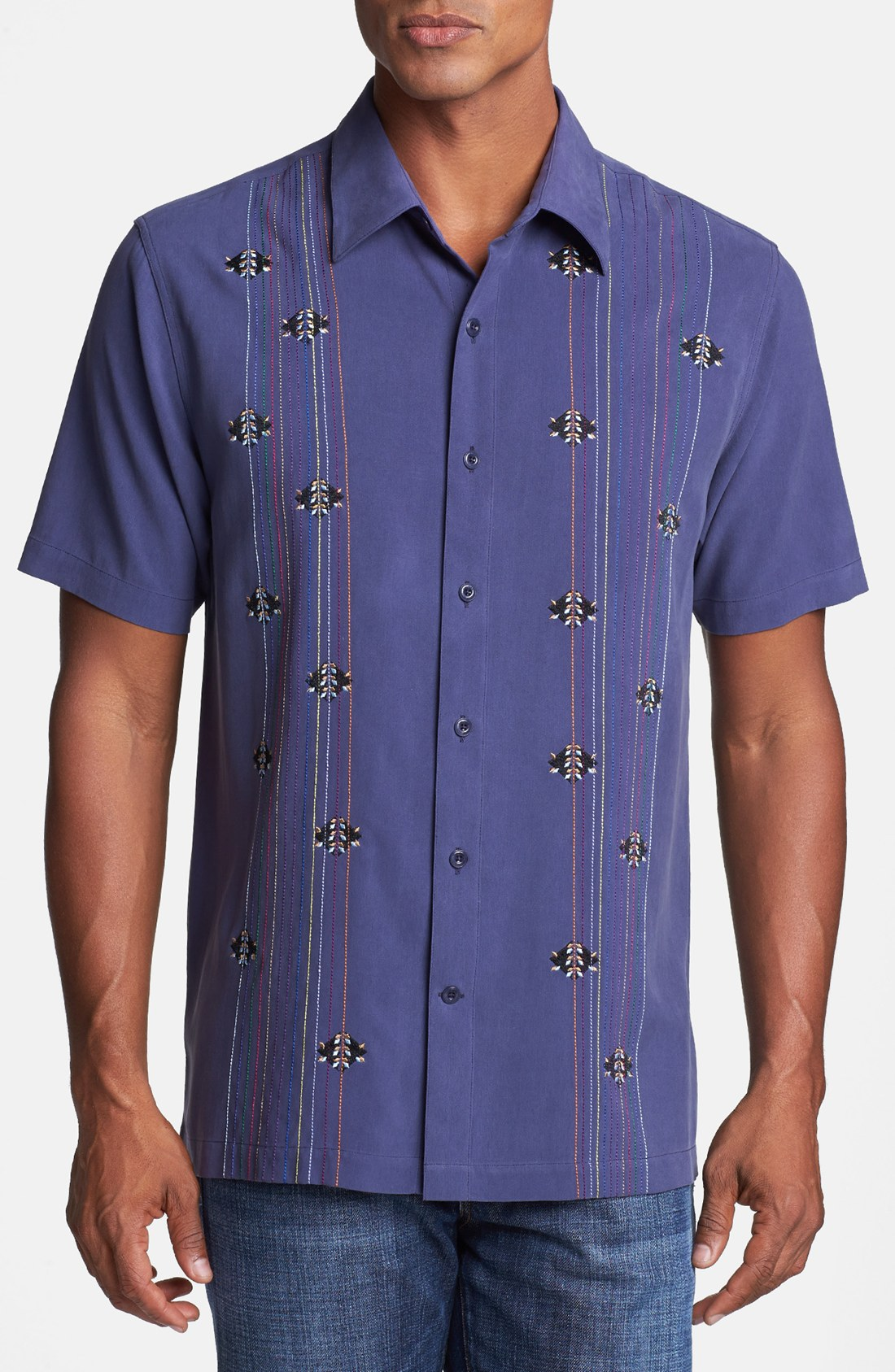 Nat Nast Branching Out Short Sleeve Silk Sport Shirt In