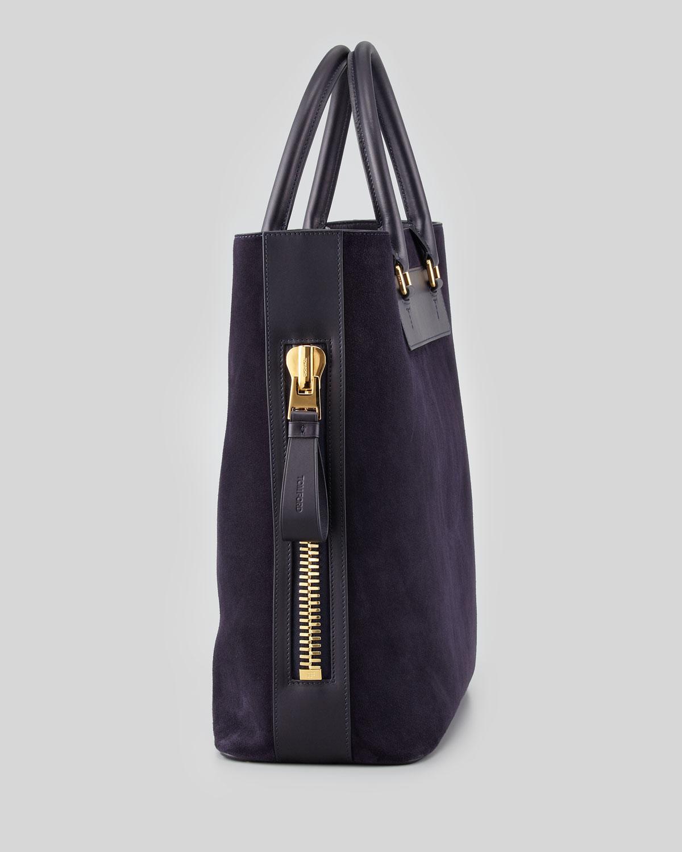 Tom ford Men'S Suede Side-Zip Tote Bag in Black | Lyst