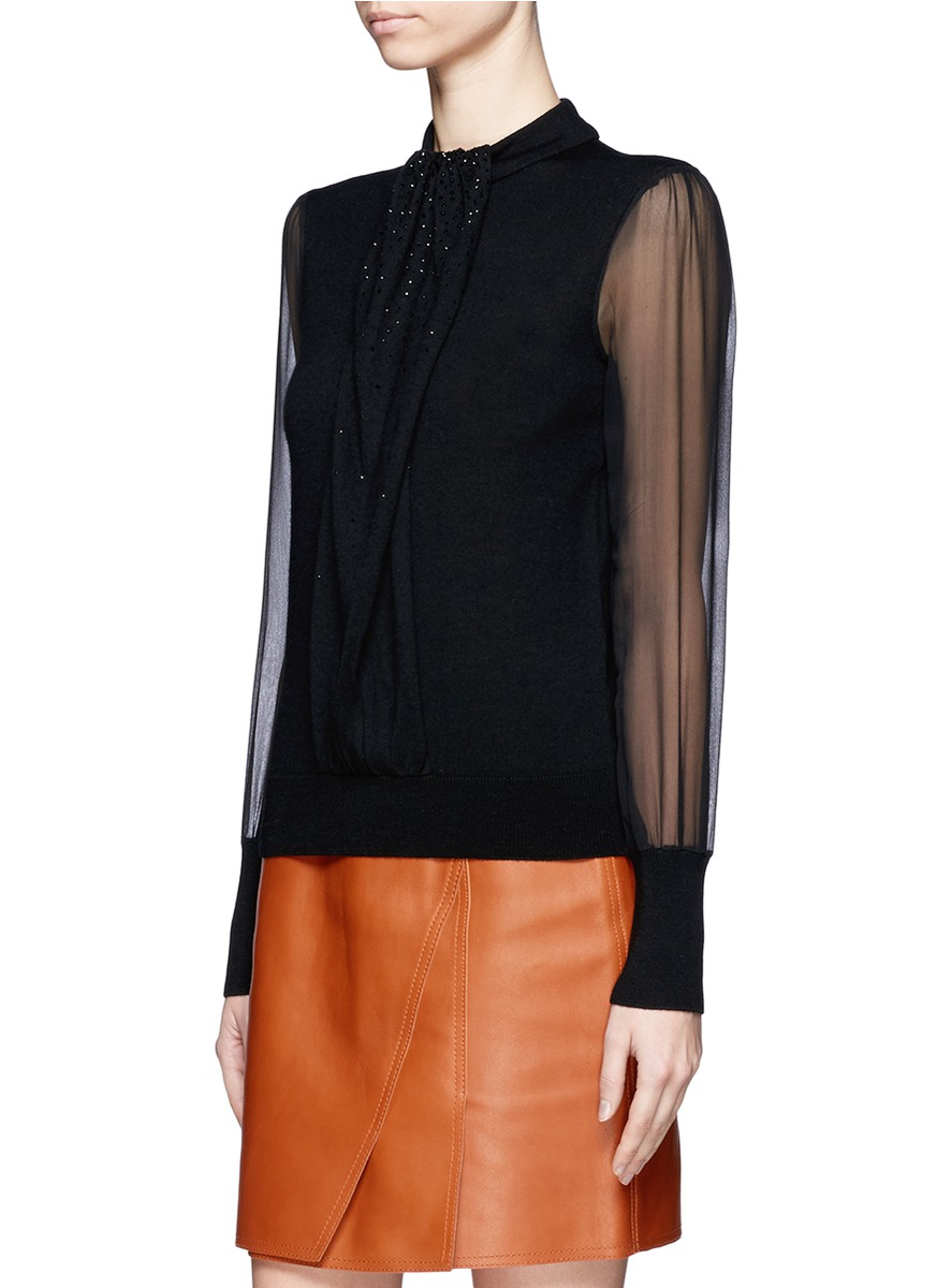 Tory burch Abitha Chiffon Sleeve Embellished Sweater in Black | Lyst