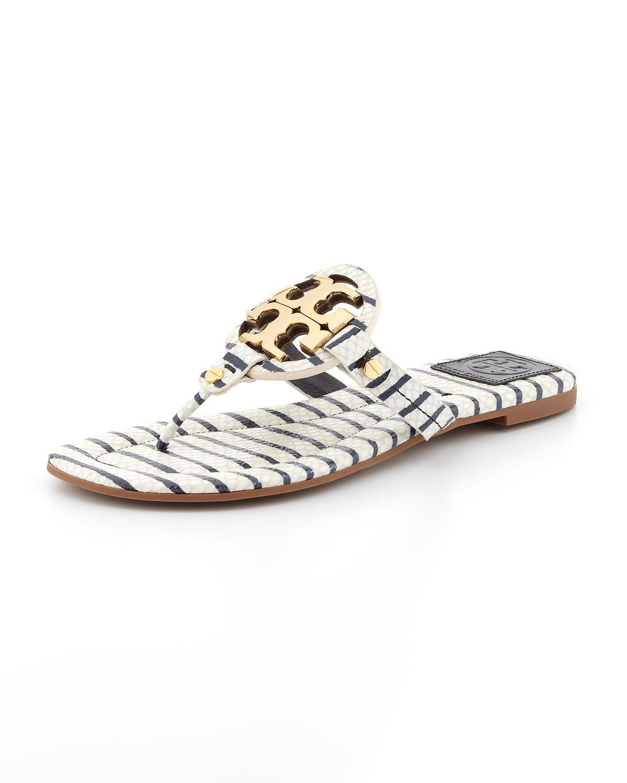 5974f26c6c8b44 Lyst - Tory Burch Miller2 Snakeprint Thong Sandal Navywhite in White