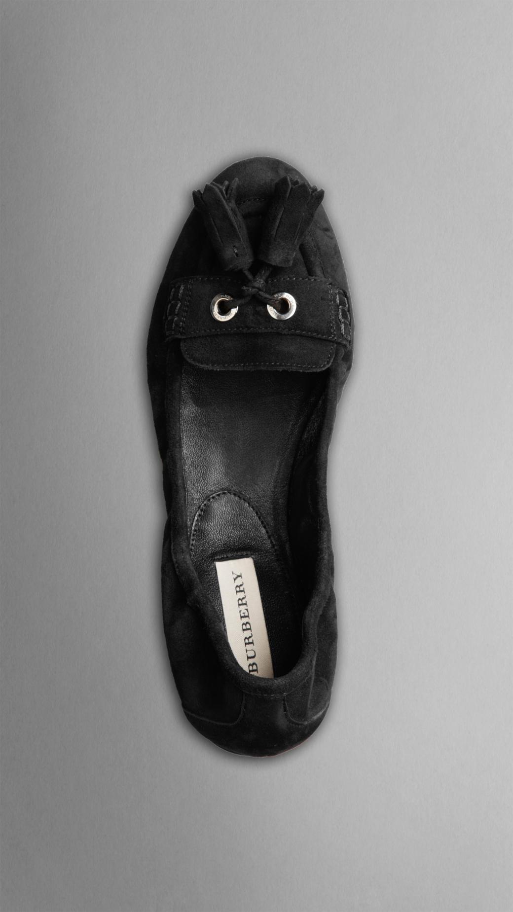 Lyst Burberry Suede Tassel Ballerinas In Black