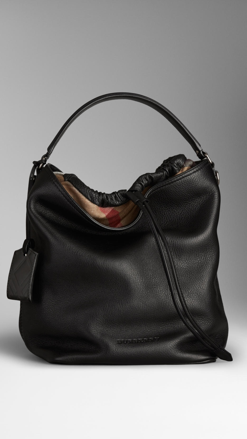 0f9fd461774b Lyst Burberry The Medium Ashby Leather Hobo Bag In Black