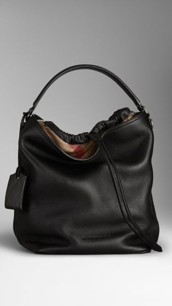 eaf2e866c9ef Burberry The Large Ashby Canvas Check And Leather Bag In Black Lyst