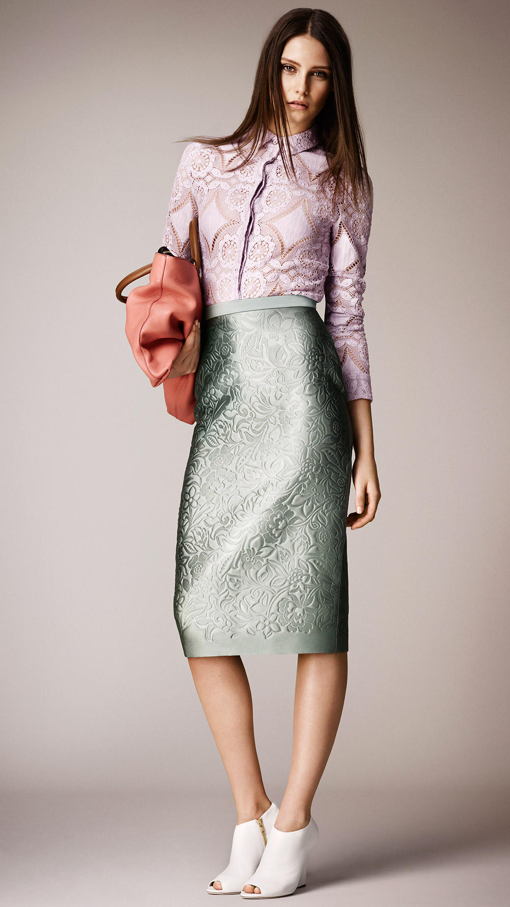 Burberry Embossed Duchess Satin Pencil Skirt in Green | Lyst