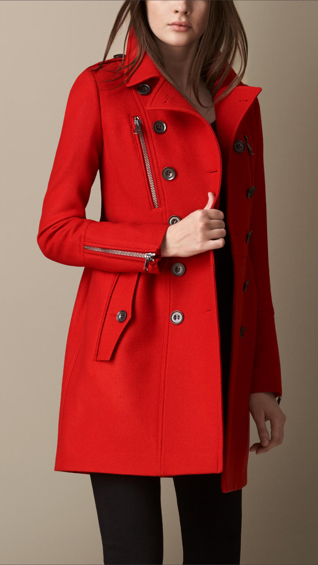 Burberry Double Wool Twill Zip Detail Coat in Red | Lyst