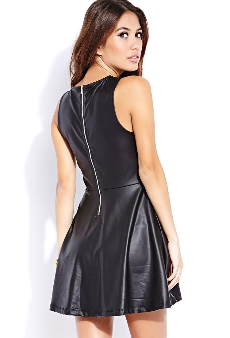 Lyst Forever 21 Sleek Faux Leather Skater Dress In Black