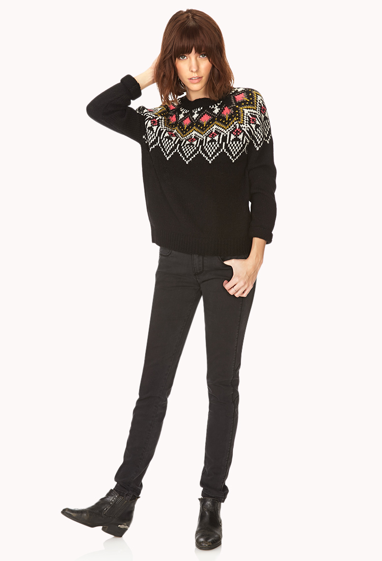 Forever 21 Neon Fair Isle Sweater in Black | Lyst