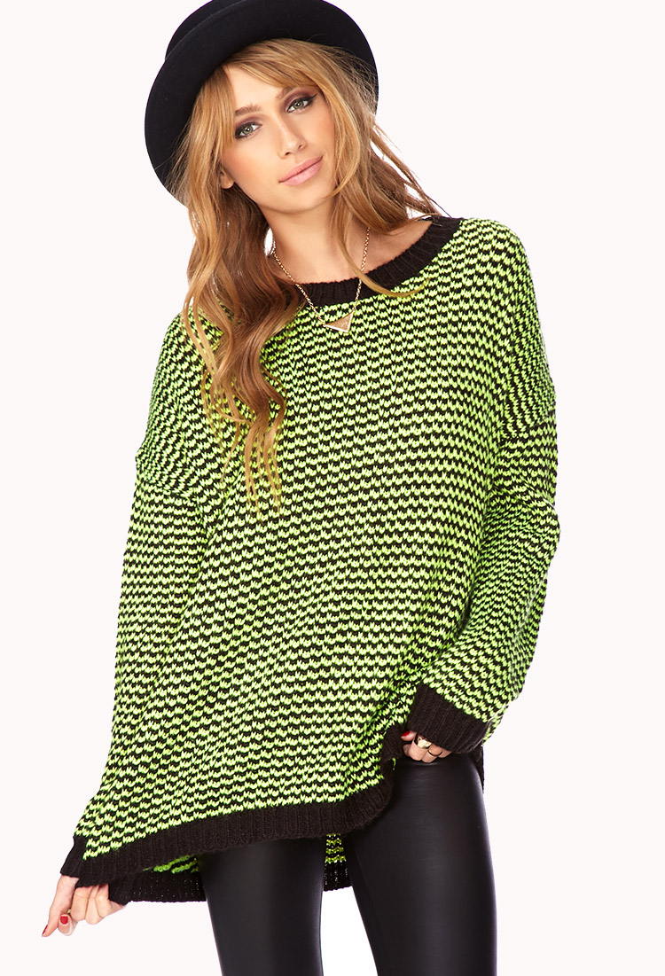 Forever 21 No Grey Area Sweater in Green | Lyst