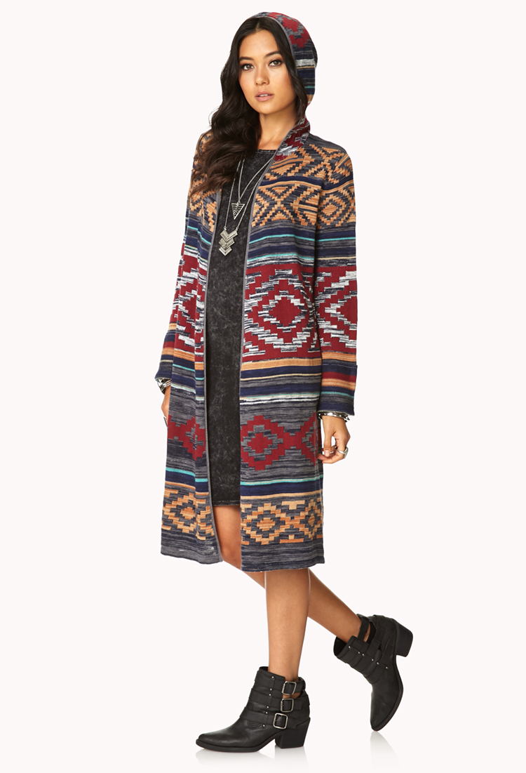 Forever 21 Rustic Hooded Maxi Cardigan | Lyst