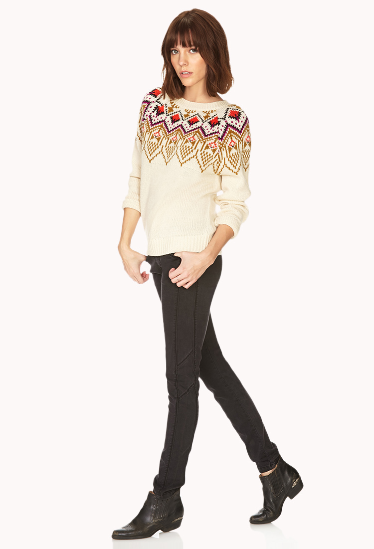 Forever 21 Fair Isle Sweater in Natural | Lyst