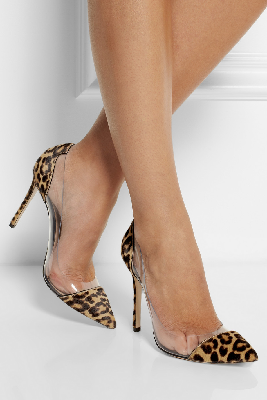 Gianvito Rossi Leopard Print Calf Hair And Pvc Pumps Lyst