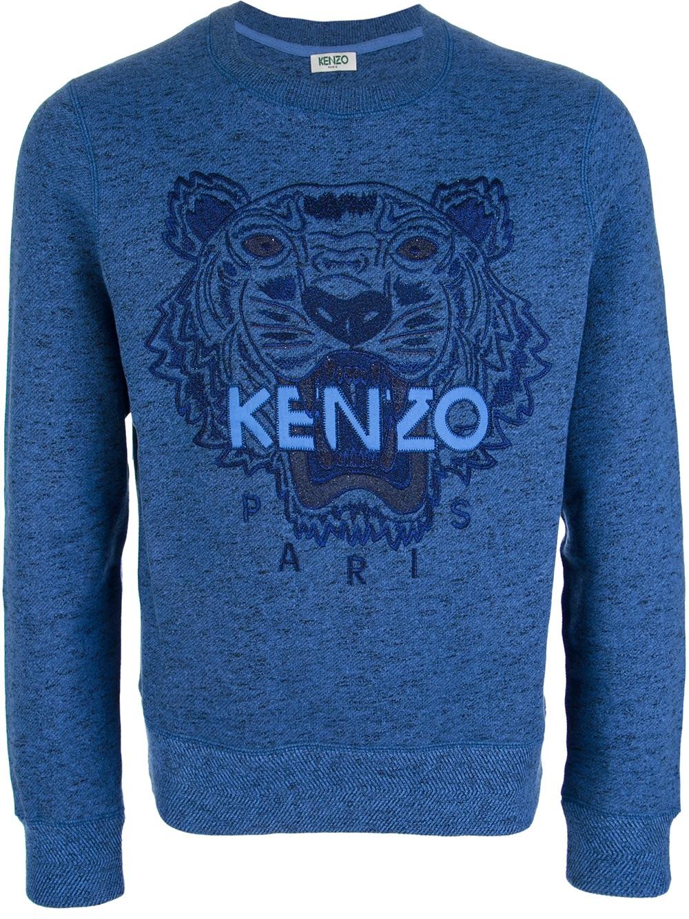 kenzo embroidered tiger sweater in blue for men tiger lyst. Black Bedroom Furniture Sets. Home Design Ideas