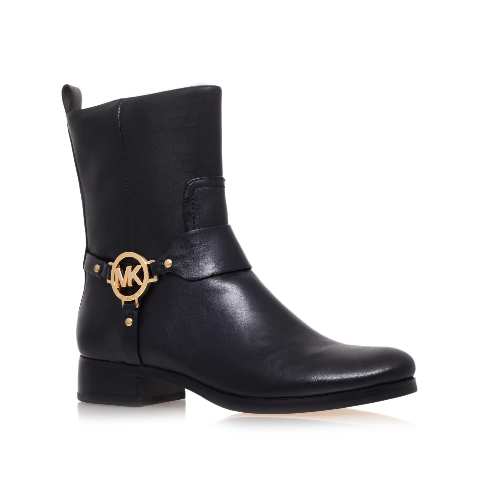 michael kors fulton harness bootie low heel ankle boots in. Black Bedroom Furniture Sets. Home Design Ideas