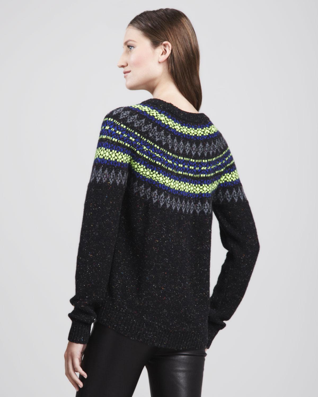 milly speckled fair isle sweater in black black multi lyst. Black Bedroom Furniture Sets. Home Design Ideas