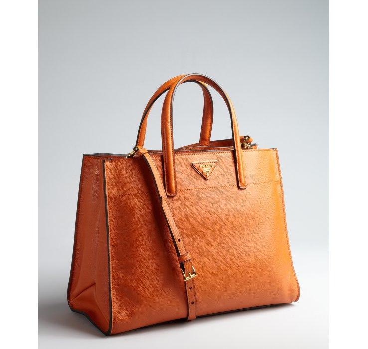 Prada Papaya Saffiano Leather Logo Convertible Tote in Orange . 3d37e266fb
