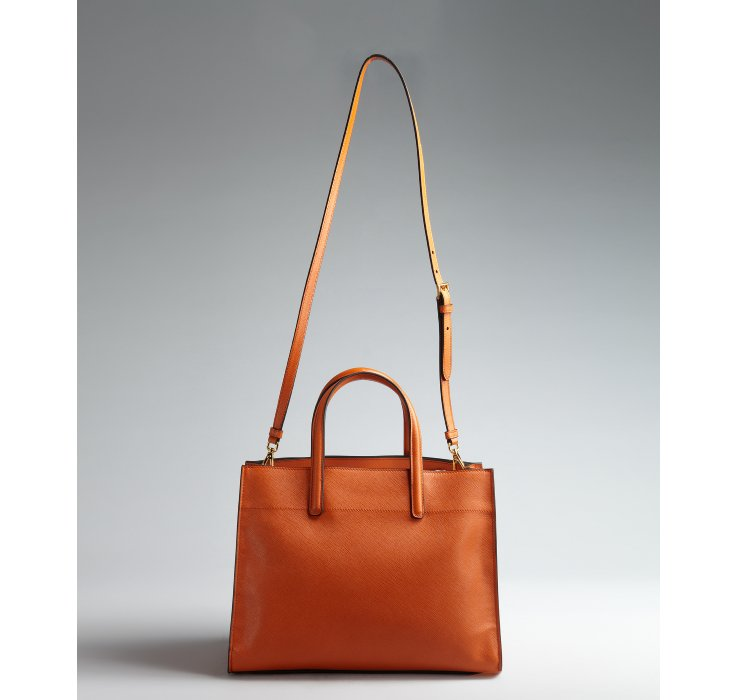 Prada Papaya Saffiano Leather Logo Convertible Tote in Orange ... - prada galleria bag papaya