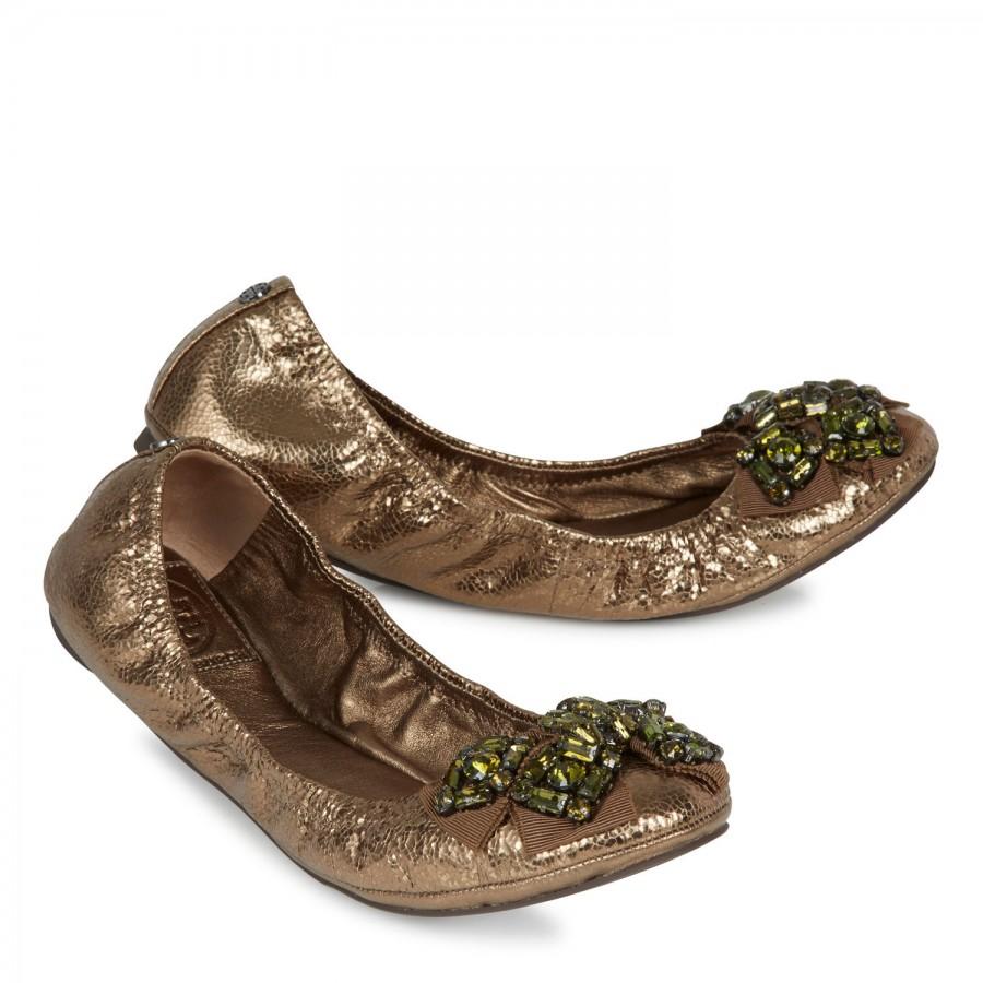 7e621ad3a48 Tory Burch Azalea Metallic Leather Ballet Flats in Metallic - Lyst