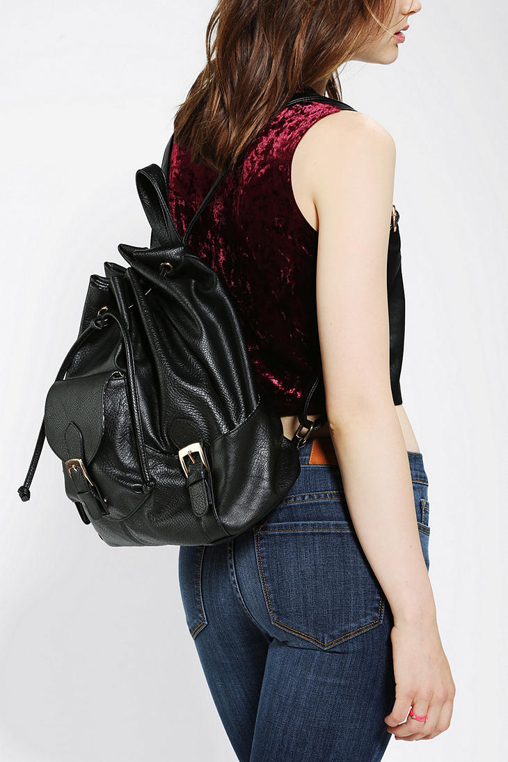 Urban outfitters Vegan Leather Drawstring Backpack in Black | Lyst