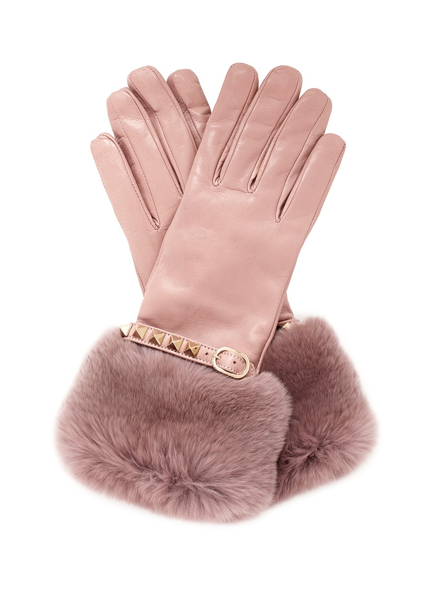 Black leather gloves with fur -  Valentino Rabbit Fur Trimmed Cuff Rockstud Leather Gloves In Pink