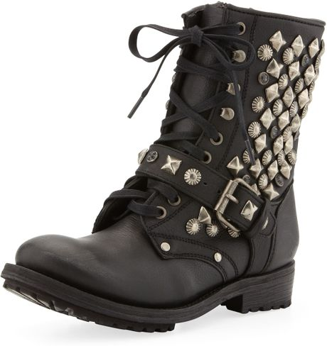 Ash Ryanna Studded Boot Black in Black