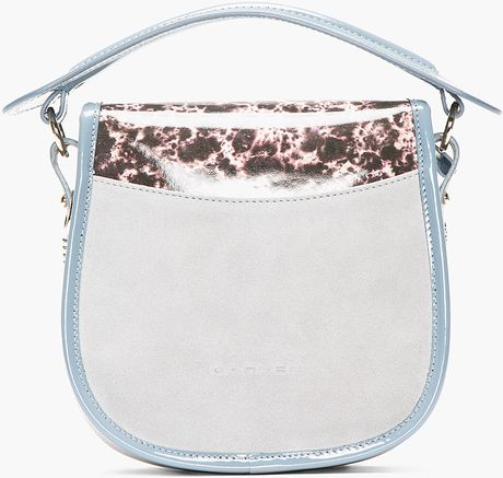 Carven Grey Suede Spot Print Round Bag In Gray Grey Lyst